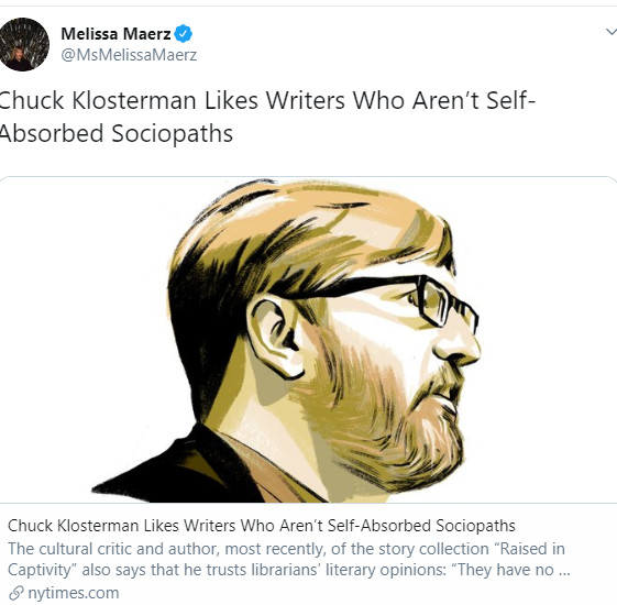 Chuck Klosterman Wife's Tweet About Husband Preference