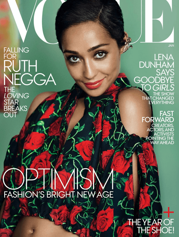 Ruth Negga on the cover page of Vogue