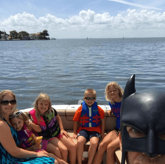 Jennifer Smith With Her Family And Batdad In A Boat