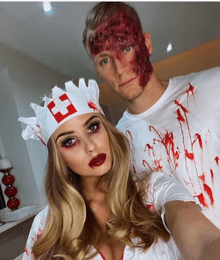 Sophie Christin With Boyfriend In Halloween