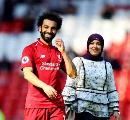 Salah Ghaly's son, Mohamed Salah, with his wife.