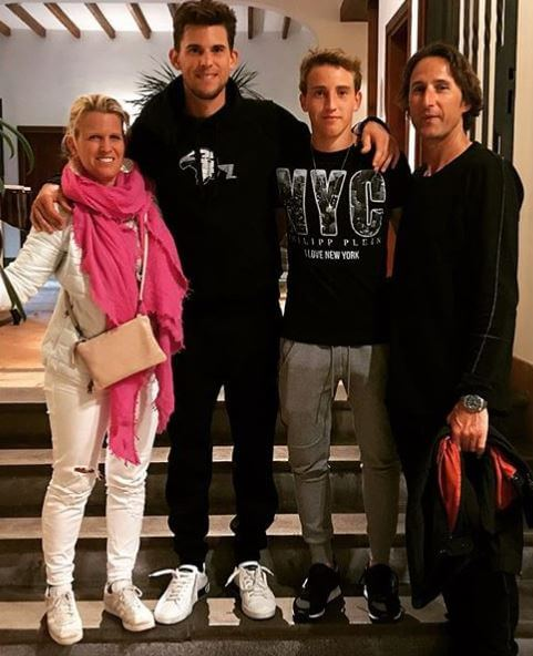 Moritz Thiem with his parents, Wolfgang Thiem and Karin Thiem and brother, Dominic Thiem.