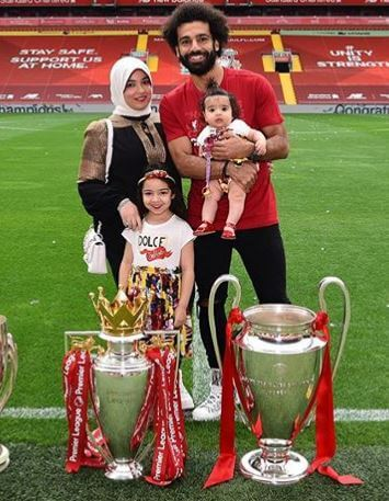 Makka Mohamed Salah with her parents, Mohamed Salah and Magi Salah, and little sister.