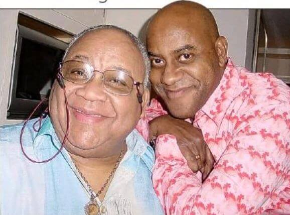 Peppy Strudwick's son, Ainsley Harriott with his father, Chester Harriott.