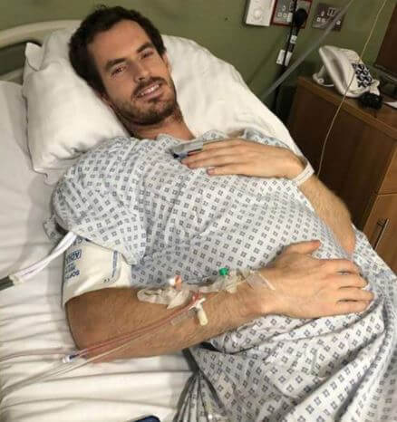 Teddy Barron Murray's dad, Andy Murray after surgery.