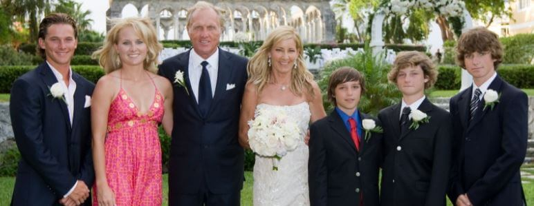 Colton Jack's mother, Chris Evert, with her then-husband Greg Norman with their children.