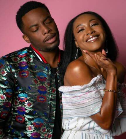 Woody McClain with his reel partner Gabrielle Dennis in The Bobby Brown Story.