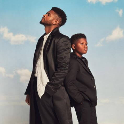 Naviyd Ely Raymond with his father, Usher.