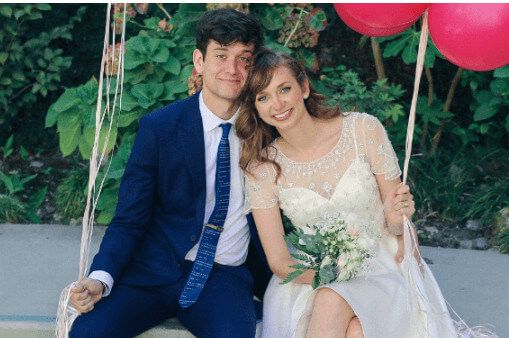 Lauren Lapkus And Husband On Their Wedding Day