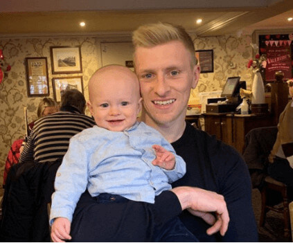 Ben Mee with His Son Jaxon