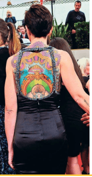 Kate's colorful back tattoo