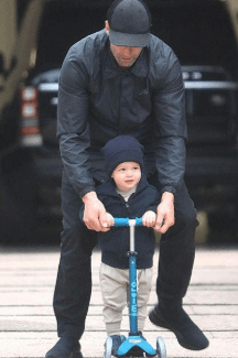 Jack Oscar Statham with his father, Jason Statham