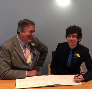 Elliott Spencer with his partner Stephen Fry