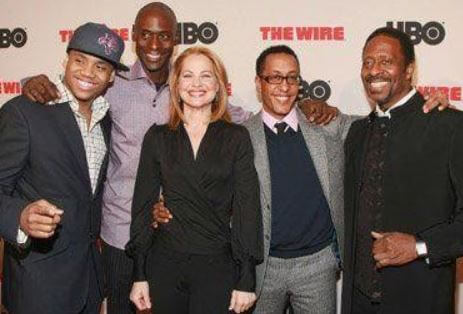 Deirdre Lovejoy with her co-stars of series 'The Wire.'