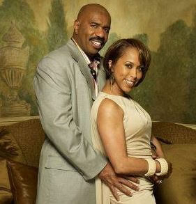 Marcia, with her ex-husband, Steve Harvey