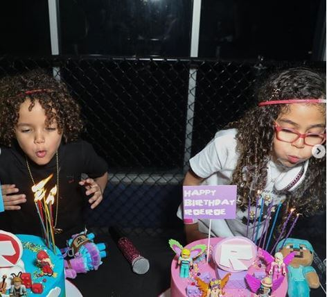 Monroe Cannon and her twin brother celebrating their birthday.