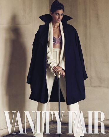 Alba Flores on the cover shoot of vanity affair.