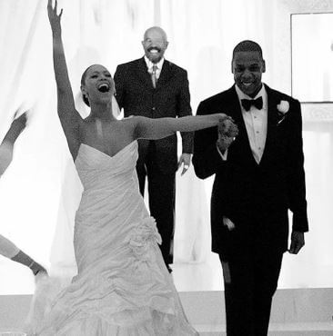Gloria Carter's son, Jay Z and daughter-in-law, Beyonce on their wedding day.