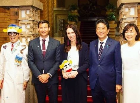 Clarke Gayford with Japanese prime minister Shinzo Abe, Japan's first lady Mrs. Akie Abe and with his partner Jacinda Ardern.
