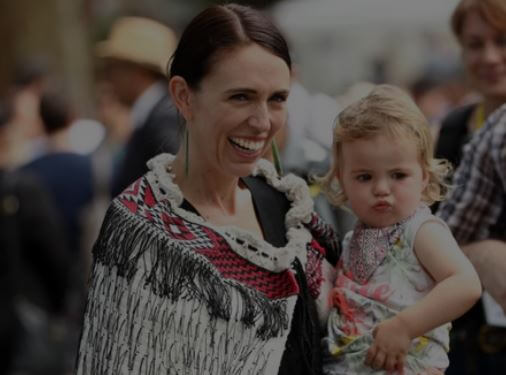 Neve Te Aroha Ardern Gayford with her mother.
