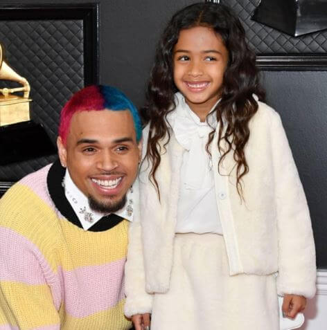 Royalty Brown with father Chris Brown at Grammy 2020.
