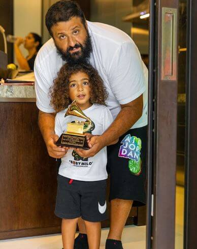 Asahd Tuck Khaled with his father, DJ Khaled.