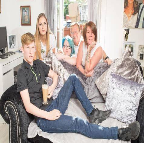 Connor Newall with his mother, father, sister, and girlfriend