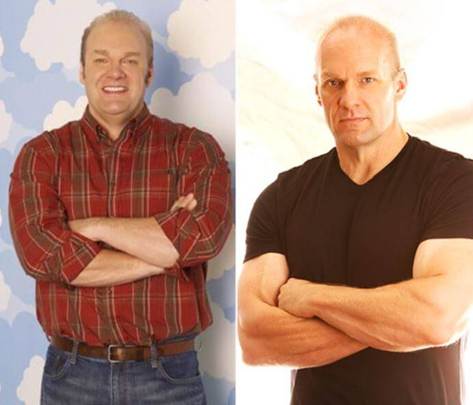 Amity Kramer's rumored father, Eric Allan Kramer before joining the gym and after joining the gym.