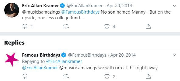Amity Kramer's rumored father, Eric Allan Kramer, cleared the rumor of not having a son named Manny