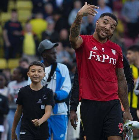 Alisha Hosannah's boyfriend, Troy Deeney with his son.