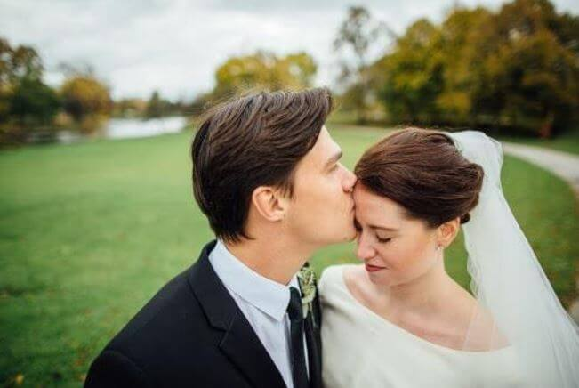 Finn Wittrock with his wife Sarah Roberts on their wedding day.