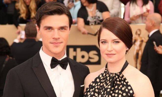 Finn Wittrock with his wife, Sarah Roberts.