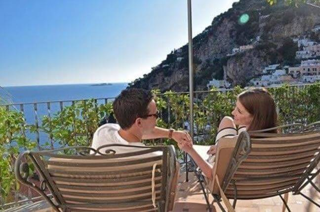 Kait Parker and her husband celebrating valentine day in Positano, Italy.