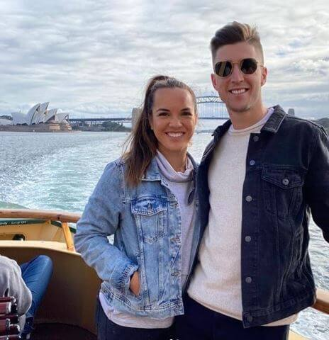 Anne Minter's son, Andrew Harris with his girlfriend, Desirae Krawczyk in Sydney