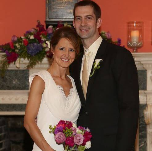 Anna Peckham with her husband, Tom Cotton on their wedding day.