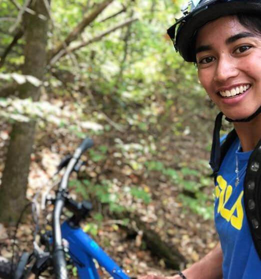 Astra Sharma enjoying biking.