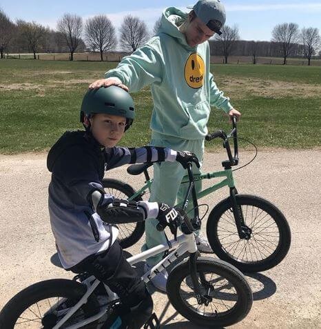 Jaxon Bieber enjoying a bike ride with his elder brother, Justin Bieber.