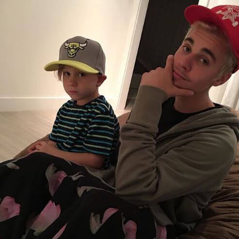 Jaxon Bieber with his half-brother, Justin Bieber