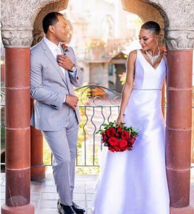 Jodie Fletcher's rumored father, Terrell Fletcher with Kavalya Fletcher on their wedding.