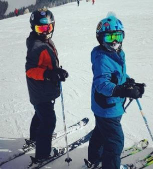 Scott and Heather sons are doing skiing