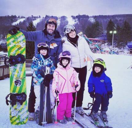 Skiing moment with family