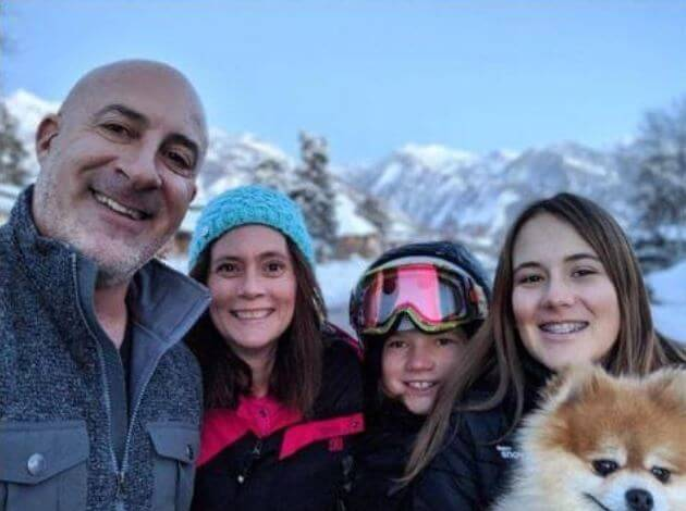 Jim Cantore with his wife and children.