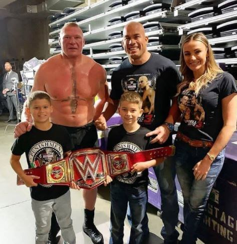 Turk Lesnar with his father, Brock Lesnar, and brother.