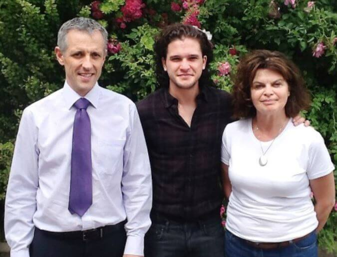 John Harington's parents and brother, Kit Harington.