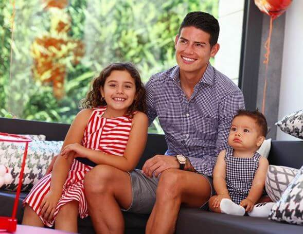 Maria Del Pilar Rubio's son, James Rodriguez, with his children.