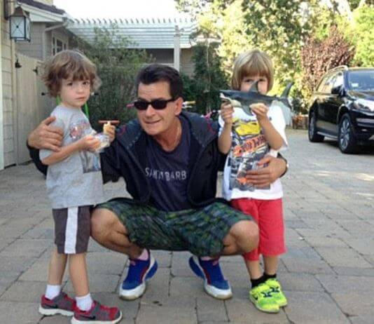 Max Sheen with his father, Charlie Sheen, and twin brother.