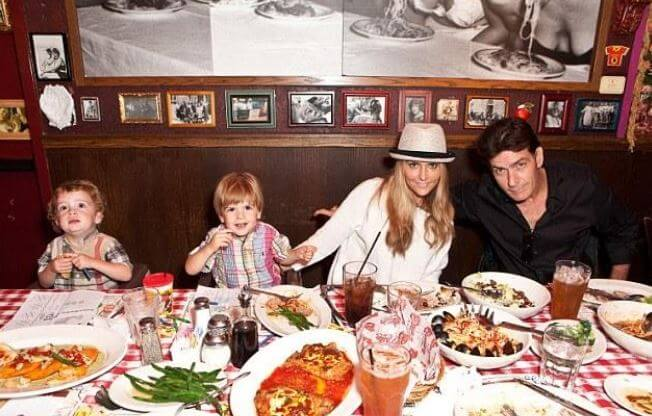 Max Sheen with his parents, Charlie Sheen, and Brooke Mueller, and twin brother.