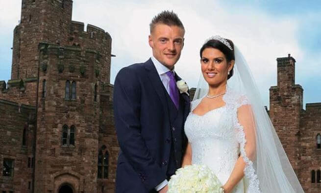 Rebekah Vardy and Jamie Vardy during their wedding.