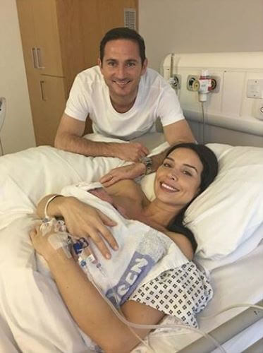 Patricia Charlotte with her parents, Christine Lampard and Frank Lampard at the time of her birth.