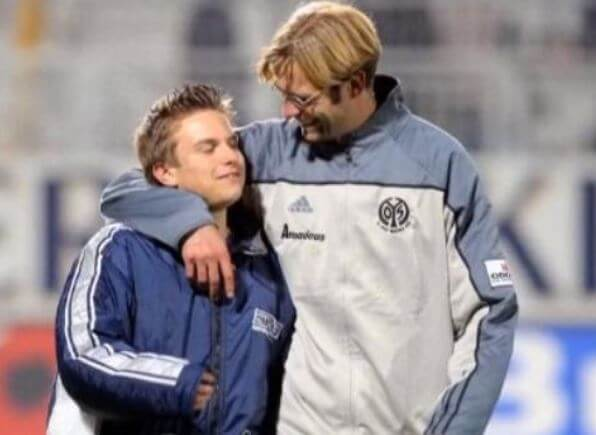 Ulla Sandrock's husband, Jurgen Klopp with his son from a previous marriage.